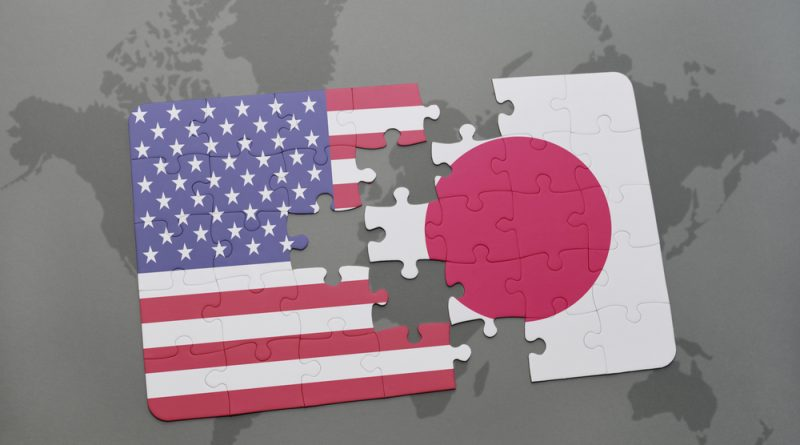 US and Japan map in a puzzle